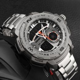 Wholesale Orange Alarm - Invicta Watches 2017 SKMEI Outdoor Sports Watch Men Digital Quartz Watches Waterproof Alarm Chrono Stop Watch Back Light Analog Wristwatch