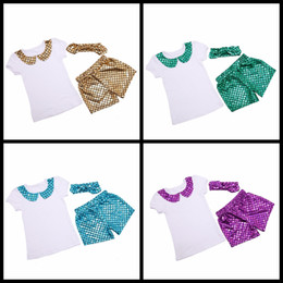 Wholesale Pants Dance Clothing - Kids dance clothes summer girls outfits Girls Mermaid clothing set T--shirt tops+Girls Mermaid shorts pant+sequin headband 3pcs suit17-34