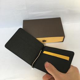 Wholesale High Quality Mens Bags - Genuine Leather Credit Card Holder Wallet High Quality Classic Designer Brand Money Clip Pocket Bag Fashion Mens Minimalist Wallet