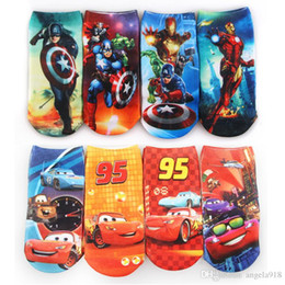 Wholesale Avengers Socks - New 3D 24 Styles Cartoon Children Socks Girls Boys Kids Printed Socks The Avengers Alliance Captain America Super Hero Iron Cars socks K040