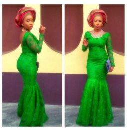 Wholesale Ankara Dresses - Ankara Style Emerald Green Lace Mermaid Prom Dresses 2017 Arabic Fashion African Long Sleeves Evening Gowns Floor Length