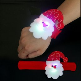 Wholesale Bracelets Santa Claus - Santa Claus LED Slap Bracelets Colorful Christmas Cartoon bands Novelty Decoration for Halloween Party Festival Bar gifts DHL free shipping