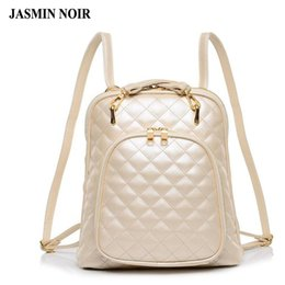 Wholesale leather backpack school - Wholesale- Fashion women's shoulder bag Quilted beige leather back pack college brand laptop Backpack female school bags for teenage girls