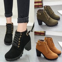 Wholesale Leopard High Heels Boots - Fashion Style Womens Fashion High Heel Round head high heel thick heel buckle side zipper female ankle boots - Free Shipping + Free Gift