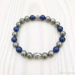 Wholesale Pyrite Bracelet - NS1094 Men's Buddha Bracelet Men Beaded Mala Pyrite Lapis Lazuli Bracelet Yoga Mala Bracelet Yogis Gift for Him