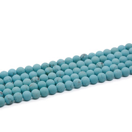 Wholesale Turquoise Blue Gemstone - 8mm 10mm Blue Turquoise Round Beads Turquoise beads Blue gemstone Jewelry supplies 15.5 inch Full Strand