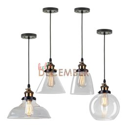 Wholesale Glass Edison Pendant - 4 Style Industrial Crystal Glass LED Pendant Lights LED Ceiling Light Edison Vintage Style Pendant Hanging Lamp