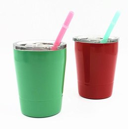 Wholesale Eco Cup Mugs - 9oz Cup with lids straws Insulated Tumbler Stainless Steel Lowball Wine Tumbler Wine Glasses mug straw color randomly KKA1827