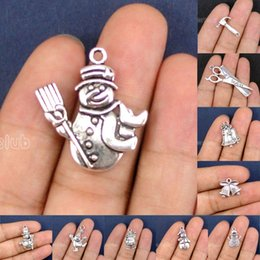 Wholesale Bell Connectors - 50pcs-Antique Silver Bell 2 Sided Dancing Snowman Christmas Bells Santa Claus Charms Pendant Connector DIY Jewelry Making