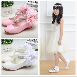 Wholesale Christmas Ties Bands - The 2017 spring style girl shoes han version of the big flower princess shoes size26-36 free shipping