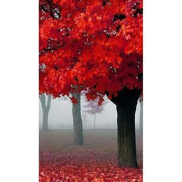 Wholesale Red Living Room Decor - Red Maple Leaves DIY Full Drill Diamond Painting 5D Diamond Mosaic Cross Stitch Embroidery Handmade Home Decor Crafts (Free Shipping)