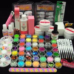 Wholesale Top Nail Acrylic Powder - Nail Tools Sets Kits COSCELIA UV Gel Acrylic Powder Nail Kit Glitter Liquid False Nails Files Nail Brushes UV gel primer Top