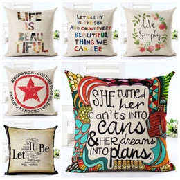 Wholesale Cushion Words - vintage letters cushion cover love quote couch sofa throw pillow case numbers life words almofada creative home office decor