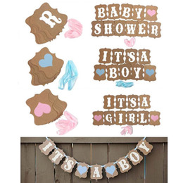 Wholesale baby christening boys - Kraft Paper Baby Shower Banner Its A Boy Girl Birthday Party Garland Baptism Nursery Christening Decos Paper Baby Room Photo Booth Props