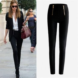 Wholesale leggings zip - Wholesale- Women Lady Black\White Color Zip Pencil Pants High Waisted Slim Skinny Stretch Leggings Trousers Pants