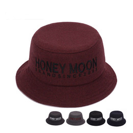 Wholesale Black Felt Hat Wool - Autumn Winter Men Women Wool Fisherman's Hat Fashion Felt Trilby Hat Cap 5 Colors Letter Portable Bucket Hats for Unisex GH-258