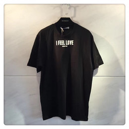 Wholesale Silk Mens Long Shirt - US-Euro New Unisex Tee Shirts Fashion I Feel Love Letter Print Mercerized Cotton Mens Designer Clothing Brand T Shirts For Men