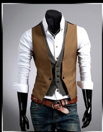 Wholesale Mens Plaid Vest - Wholesale-Bestitem Free Shipping Men's Dress Vest Waistcoat Casual Blazer Mens False Two Vest Double Breasted Vests Mens Suit Vests