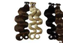 Wholesale Tipped Hair Body Wave - NEW bestselling 100g lot Women's Pre-Bonded Fusion i-tip Hair Extensions 18-24 remy human Body wave hair 1g pc all color tangle free
