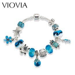 Wholesale Gold Jewelry Chain Roll - VIOVIA Sea Style European Roll Charm Bracelet For Women With Blue Murano Glass Beads Jewelry Gifts Pulseras Mujer B16194
