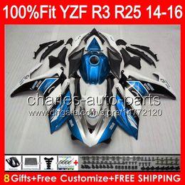 2019 yamaha r25 glänzend blau 8gifts Einspritzung für YAMAHA YZF R3 R25 14 15 16 YZF-R3 YZF-R25 97NO60 R 3 YZFR3 YZFR25 R25 R3 2014 2015 2016 blau weiß Verkleidung günstig yamaha r25