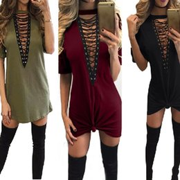 Wholesale Wholesale Adult T Shirts - 20pcs Hot Selling Dresses for Women Clothes Fashion 2017 Short Sleeve Sexy Criss Cross Neck Casual Loose T-Shirt Plus Size Dress S-3XLCK1099