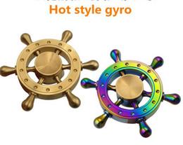 Wholesale Boat Rudders - Rainbow Brass Hand spinners Boat Rudder Hand Spinner Edc Decompression Toy Helmsman Fidget Spinner Steering Wheel Design Fidget
