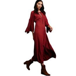 Wholesale Maxi Red Wines - Women Spring Chiffon Maxi Dress New 2017 Wine Red Three Quarter Sleeve Fashion Slim Loose Party Dresses Vestido De Festa WT51891