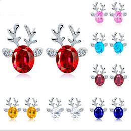 Wholesale crystal reindeer - Luxury Christmas reindeer antlers crystal earrings stud earrings lady Christmas ornaments fashion jewelry Crystal Stud Earring Gift