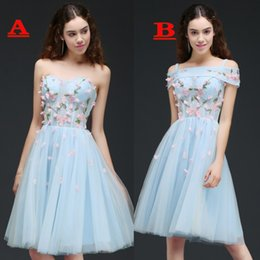 Wholesale Sweetheart Blue Dress Knee Length - 2017 New Light Sky Blue Short Homecoming Dresses Vestidos A Line Backless Tulle with Hand Made Flowers Knee Length Cocktail Prom Gowns