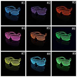 Wholesale Neon Glasses Frames - El Wire Neon LED Light Up Shutter Party Glasses Lighting Classic Bright Light Festival Glasses 100pcs OOA3787
