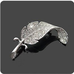 Wholesale Fashion Jewelry Parts Accessories - Wholesale- silver plated loved fashion crystal rhiestone simple feather brooch broach pins vehicle parts women men cloth jewelry accessory