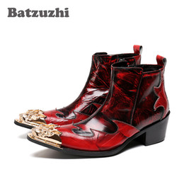 Wholesale Rock Cowboy Boots - 6CM Height Italian Style Rock Men Boots Wine Red Golden Pointed Metal Toe Men Short Boots Nightclub Stage Shoes Men