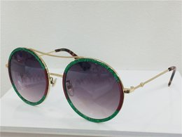 Wholesale Metal Butterfly Boxes - Women Round Sunglasses 0061S Gold Metal Green Red Glitter Grey Gradient Lens 56mm designer luxury brand oversized sunglasses new with box