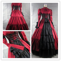 Wholesale Skirt Retro Style - Palace Style Lotus Leaf Skirt Gorgeous Retro High-necked Long Sleeve Cosplay Prom Gothic Lolita Simple Long Ball Gown 2018 Real Photo