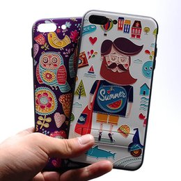 Wholesale Cute Animal Phone Cases - For iPhone 7 7Plus 6 6S 6Plus Cute Pineapple Cartoon Animals Emoji 3D Relief Painting With Holder kickstand Soft Phone Case