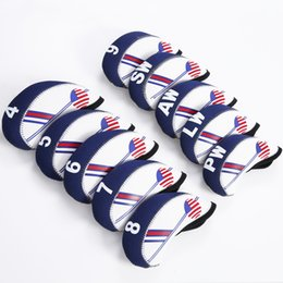Wholesale Golf Accessories Set - Golf Club Iron Head Cover Set 10pcs Neoprene White With Blue US Flag Headcovers One size Fit All Irons Outdoor Golf Accessories