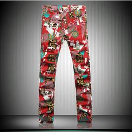 Wholesale Hot Cotton Capris - Wholesale-new hot sale 2015 Autumn Unique pattern printed jeans men red casual slim cotton straight print calca jeans masculina size 28-36
