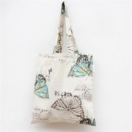 Wholesale Big Bag Eco - Wholesale- YILE Handmade Cotton Linen Eco Reusable Shopping Shoulder Bag Tote Big Butterfly L047