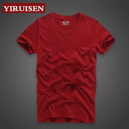 Wholesale Washing Collared Shirts - Men's T-shirt 2017 summer new V-neck round collar solid color short-sleeved T-shirt men's fashion trend fitness free shipping size X-5XL
