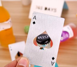 Wholesale Poker Playing Card - Poker Playing Card Bottle Opener Stainless Steel Beer Openers Bar Tools Credit Card Soda Beer Bottle Cap Opener Gifts Kitchen Tools wn278