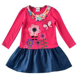 Wholesale Nova Girls Long Sleeve - New product NOVA children's dress summer girl dress short sleeve pure cotton sequined button flower cowboy princess skirt