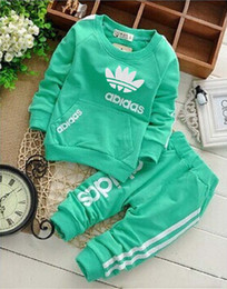 Wholesale Hot Sale Pants Girls - AD baby boys & girls tracksuit kids brand tracksuits kids coats pants 2 pcs sets kids clothing hot sale new fashion spring autumn