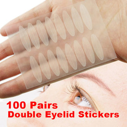 Wholesale Wholesale Eye Talk - Wholesale- New 100 Pairs Flesh Color Eyelid Tapes Eye Talk Double Eyelid Technical Eye Makeup Stickers Beauty Tools Hot Sale