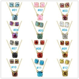 Wholesale Gold Necklace Small - Fashion KS Gold Small Square dot Opal Glitter Necklace Earrings Sets for Women Classic Brand Square Choker Jewelry Sets Wholesale