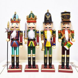 Wholesale Wholesale Wood Art - Wooden Dolls Crafts 30cm Nutcracker Wood Decorative Christmas Home Decoration Ornaments Walnut Soldiers Band Dolls Puppet Arts Crafts Bar