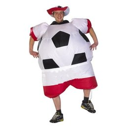 Wholesale Blow Up Christmas - 2017 New Soccer Inflatable Costume Football for Halloween Party Mascot Fancy Blow Up Dress Carnival Inflatable Ball Suit