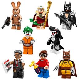 Wholesale Arkham Joker - PG8033 Super Heroes Catman Arkham Asylum Joker Dick Grayson Orca King Tut Glam Metal Building Block Christmas Gifts 8pcs
