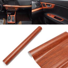Wholesale Wood Grain Vinyl - Wholesale- Universal 30cm x 120cm Car Brown Wood Textured Grain Vinyl Wrap Sticker Decal Vinyl PVC