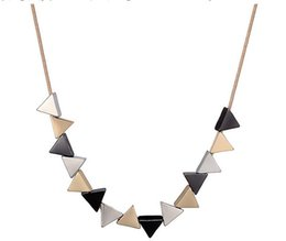 Wholesale Shaped Bibs - Geometric Triangle Shaped Alloy Pendant Necklace New Party Trendy Vintage Jewelry for Women Chokers Bib Necklace DJ